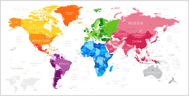 World Map with North America, South America, Africa, Europe, Asia and Oceania Continents. Vector Illustration World Map North America, South America, Africa, Europe, Asia, Oceania Continents and Oceans on white background continent geographic area stock illustrations