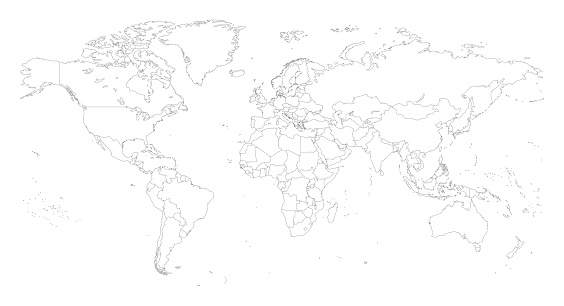 World map with outlines
