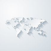 Map of World with a realistic paper cut effect isolated on white background. Vector Illustration (EPS10, well layered and grouped). Easy to edit, manipulate, resize or colorize.