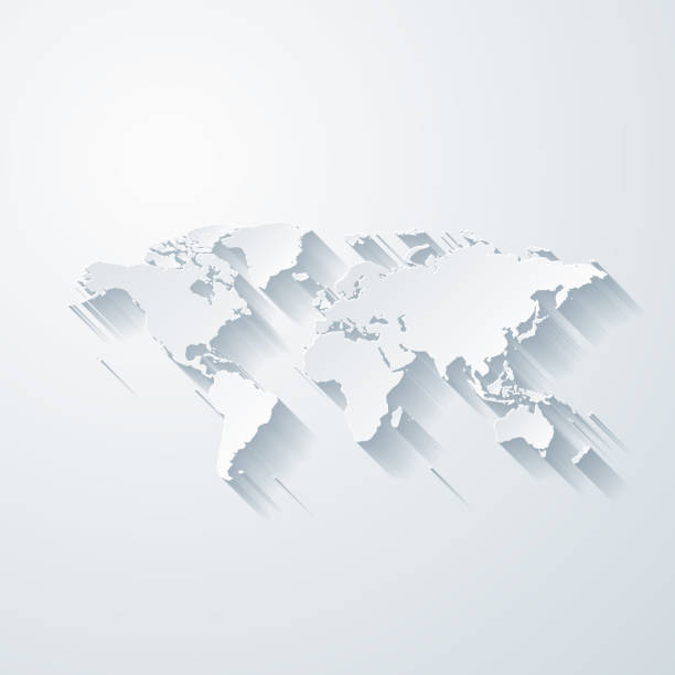 World map with paper cut effect on blank background vector art illustration