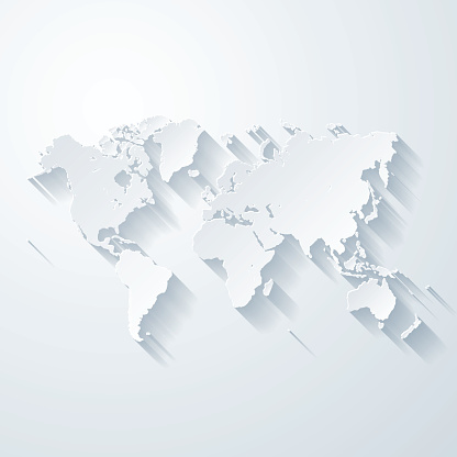 World map with paper cut effect on blank background