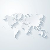 Map of World with a realistic paper cut effect isolated on white background. Vector Illustration (EPS10, well layered and grouped). Easy to edit, manipulate, resize or colorize. Please do not hesitate to contact me if you have any questions, or need to customise the illustration. http://www.istockphoto.com/bgblue/