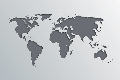 world map with paper cut effect