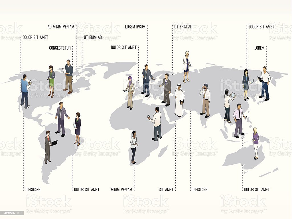 World Map with People  Slide Template vector art illustration