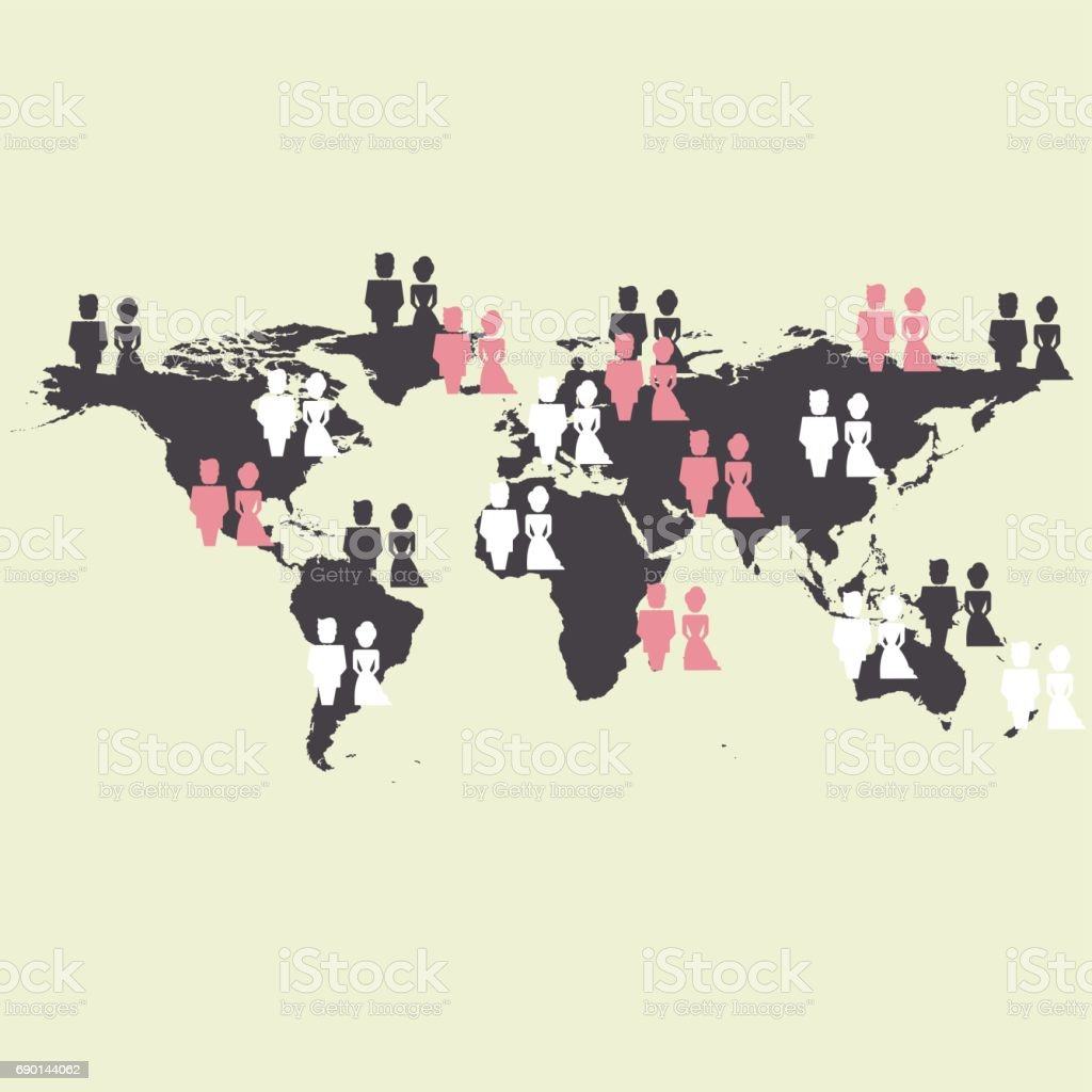 World Map With People Targeted Vector Stock Vector Art & More Images on