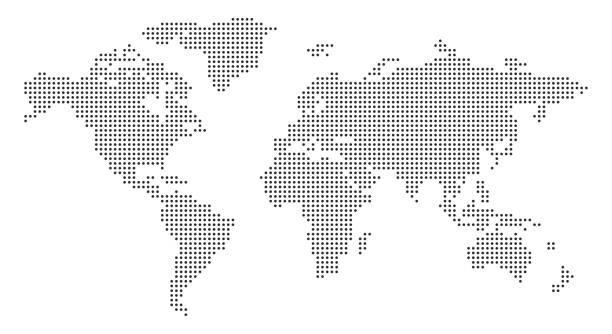mapa świata z pikselami - wektor akcji - mapa świata stock illustrations
