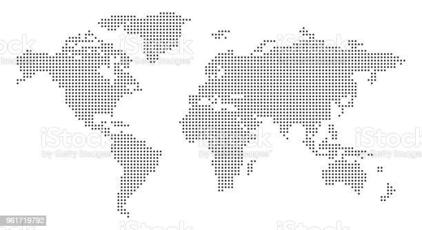 World Map With Pixels Stock Vector - Arte vetorial de stock e mais imagens de Austrália