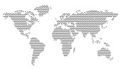 World Map with pixels - vector illustration