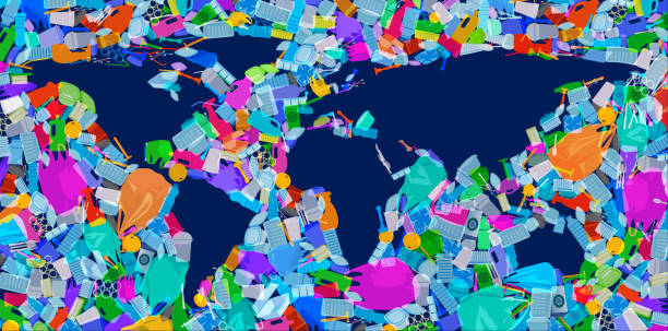 world map with plastic waste oceans - ocean plastic stock illustrations