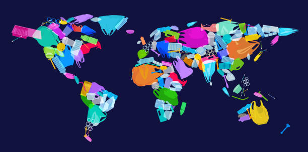 illustrazioni stock, clip art, cartoni animati e icone di tendenza di world map with plastic waste - ocean plastic