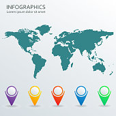 World map with pointers set. Vector illustration.
