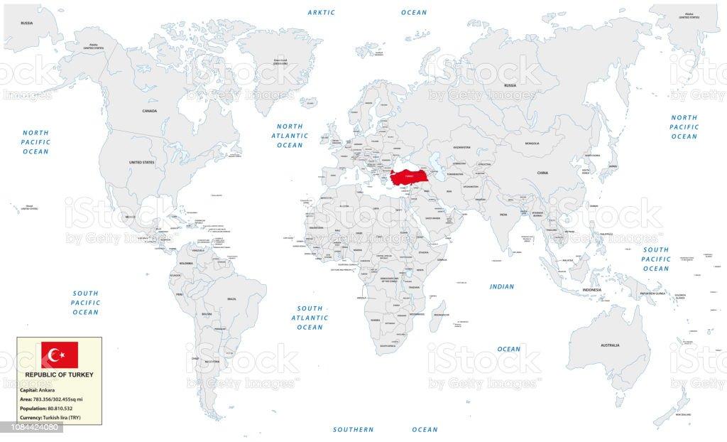 turquie carte du monde Carte Du Monde Avec La République De Turquie Boîte De Petites