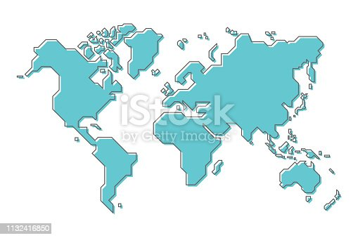 World map with simple modern cartoon line art design .