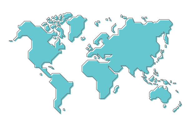 illustrazioni stock, clip art, cartoni animati e icone di tendenza di mappa del mondo con un semplice design moderno della linea di cartoni animati - world