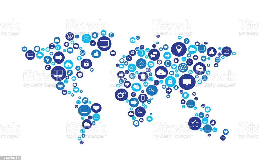 World map with social media icons vector stock vector art more world map with social media icons vector royalty free world map with social media icons gumiabroncs Image collections