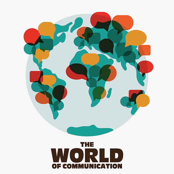 Mapa mundial con discurso de burbujas. Aplicación, interpretación y de comunicación concepto - ilustración de arte vectorial