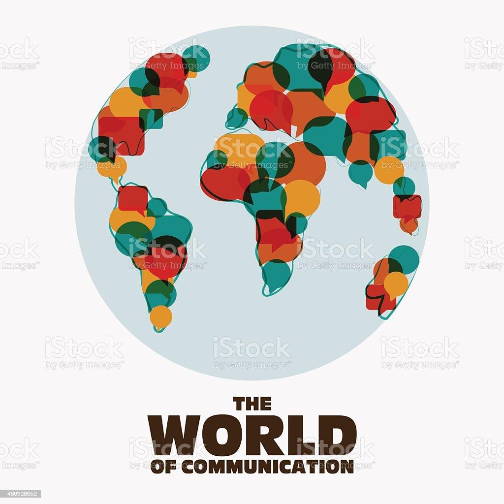 Mapa-múndi com discurso bolhas. Tradução, intérprete e conceito de comunicação - ilustração de arte em vetor