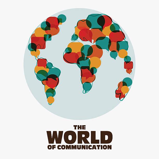ilustrações, clipart, desenhos animados e ícones de mapa-múndi com discurso bolhas. tradução, intérprete e conceito de comunicação - assistente jurídico