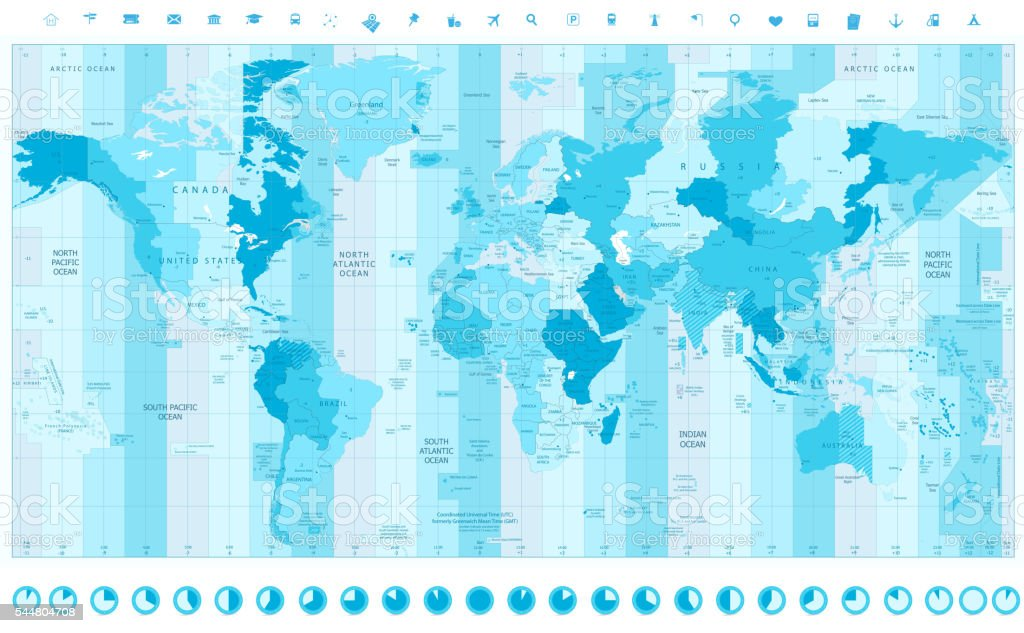 World Map with Standard Time Zones vector art illustration