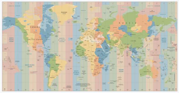 bildbanksillustrationer, clip art samt tecknat material och ikoner med world map with standard time zones - tidszon