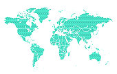 World map with stars. Vector illustration