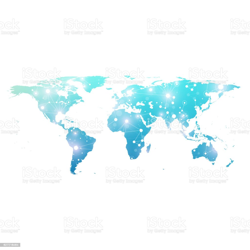 World map with technology networking concept. Scientific vector illustration vector art illustration