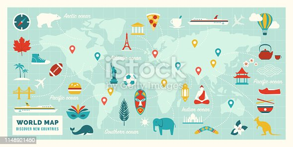 World map with travel routes, destinations and landmarks from all continents: vacations and traveling concept