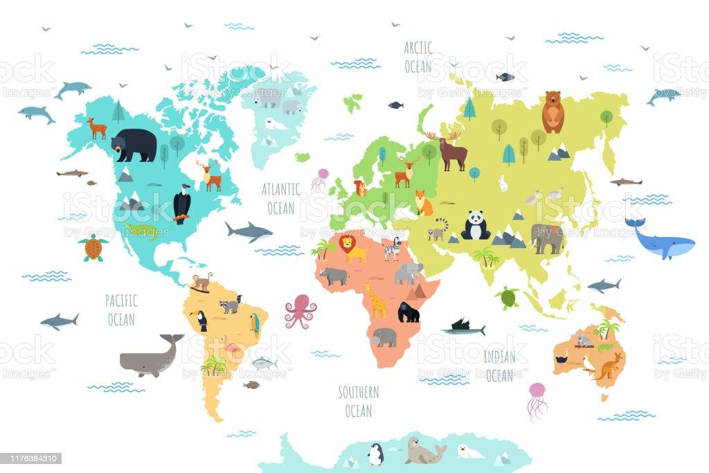 Weltkarte mit wilden Tieren - Lizenzfrei Afrika Vektorgrafik