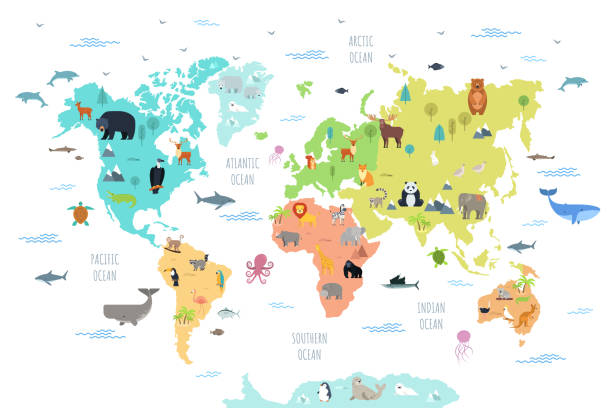 World map with wild animals World map with wild animals living on various continents and in oceans. Cute cartoon mammals, reptiles, birds, fish inhabiting planet. Flat colorful vector illustration for educational poster, banner. animal stock illustrations