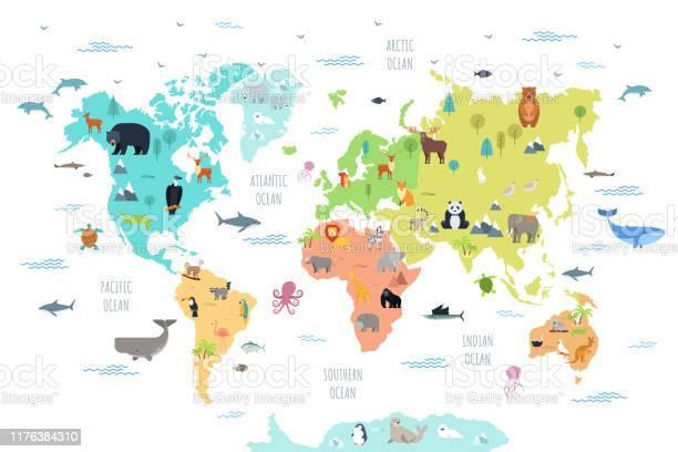 Weltkarte Mit Wilden Tieren Stock Vektor Art und mehr Bilder von Afrika