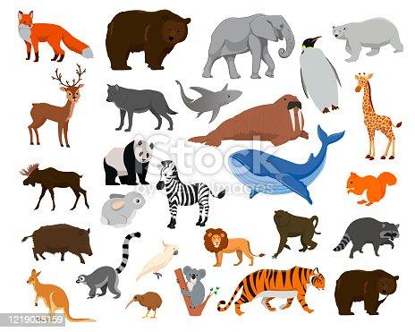Mapa del mundo con animales de vida silvestre y plants_