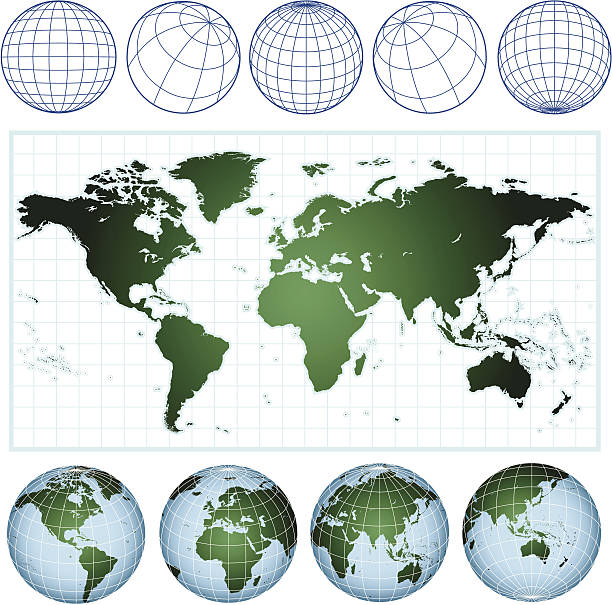 world map with wireframe globes A detailed vector world map and wireframe globes with views of different continents: the Americas, Europe and Africa, Asia and Australia. longitude stock illustrations