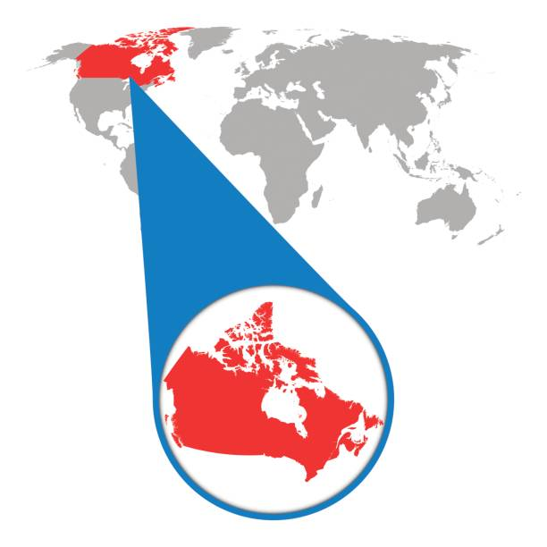 World map with zoom on Canada. Map in loupe. Vector illustration in flat style World map with zoom on Canada. Map in loupe. Vector illustration in flat style zoom stock illustrations