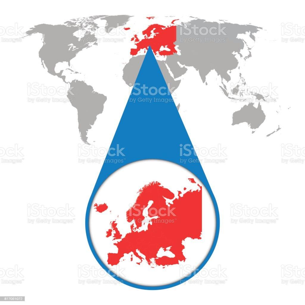 Karta Varlden Europa.Varlden Karta Med Zoom Pa Europa Karta I Lupp Vektorillustration I