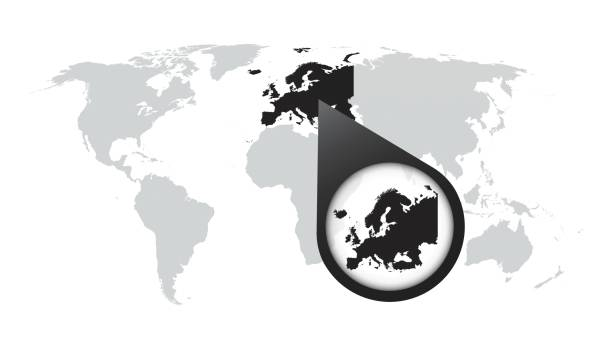 World map with zoom on Europe. Map in loupe. Vector illustration in flat style World map with zoom on Europe. Map in loupe. Vector illustration in flat style zoom effect stock illustrations