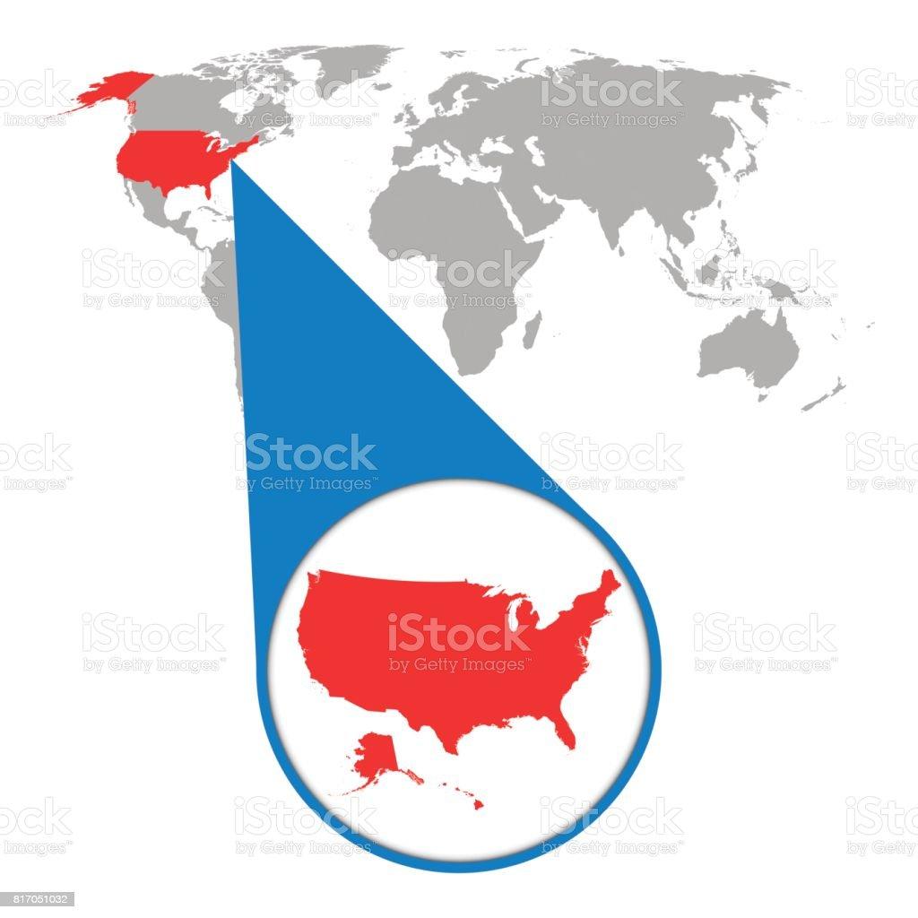 Mapa mundial con zoom en estados unidos mapa de amrica en lupa mapa mundial con zoom en estados unidos mapa de amrica en lupa ilustracin de gumiabroncs Gallery