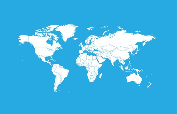 illustrazioni stock, clip art, cartoni animati e icone di tendenza di world map-countries - world