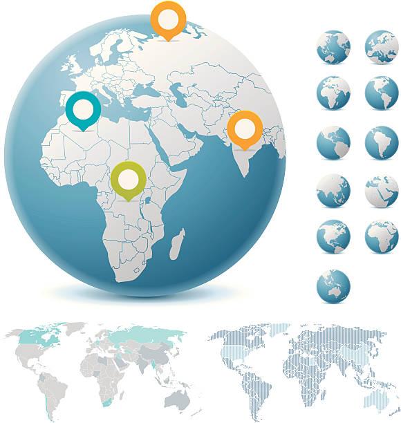 stockillustraties, clipart, cartoons en iconen met world maps and globes - land