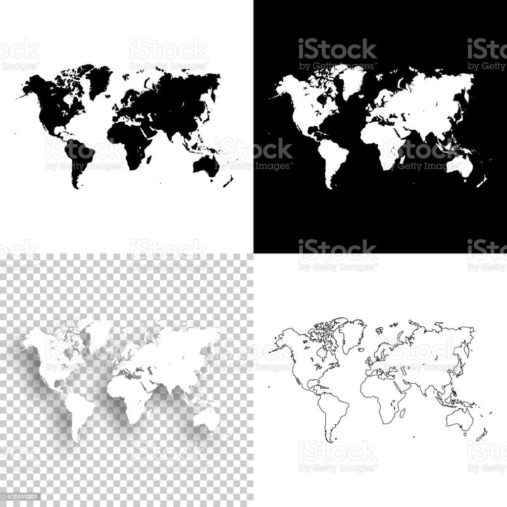 World maps for design - Blank, white and black backgrounds vector art illustration
