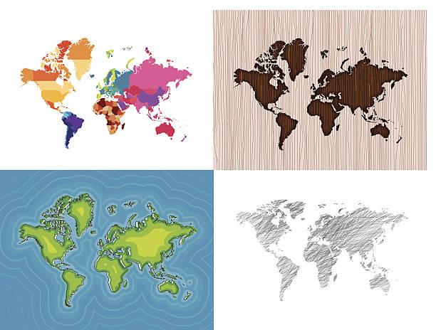ilustrações de stock, clip art, desenhos animados e ícones de mundo mapas série (1/4) - mapa mundi