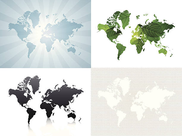 ilustrações de stock, clip art, desenhos animados e ícones de mundo mapas série (4/4) - mapa mundi