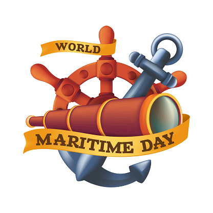 World Maritime Day design concept with steering wheel or rudder, spyglass and anchor. Vintage vector illustration isolated on a white background
