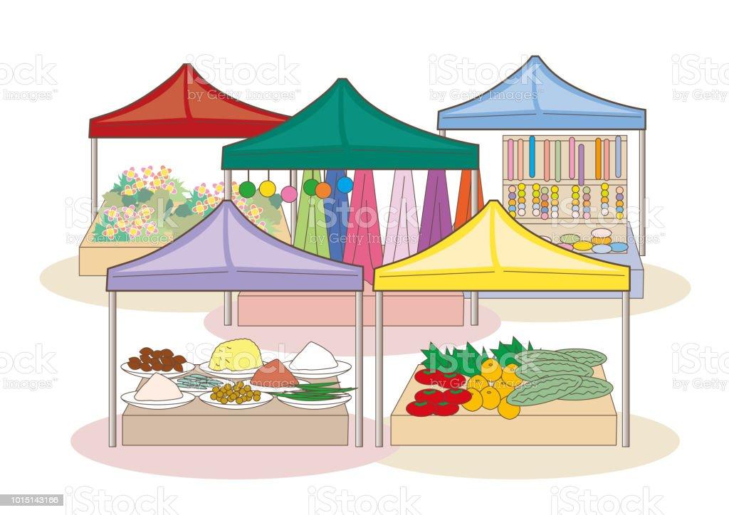 Mercado mundial - imagem bazar - ilustração de arte em vetor