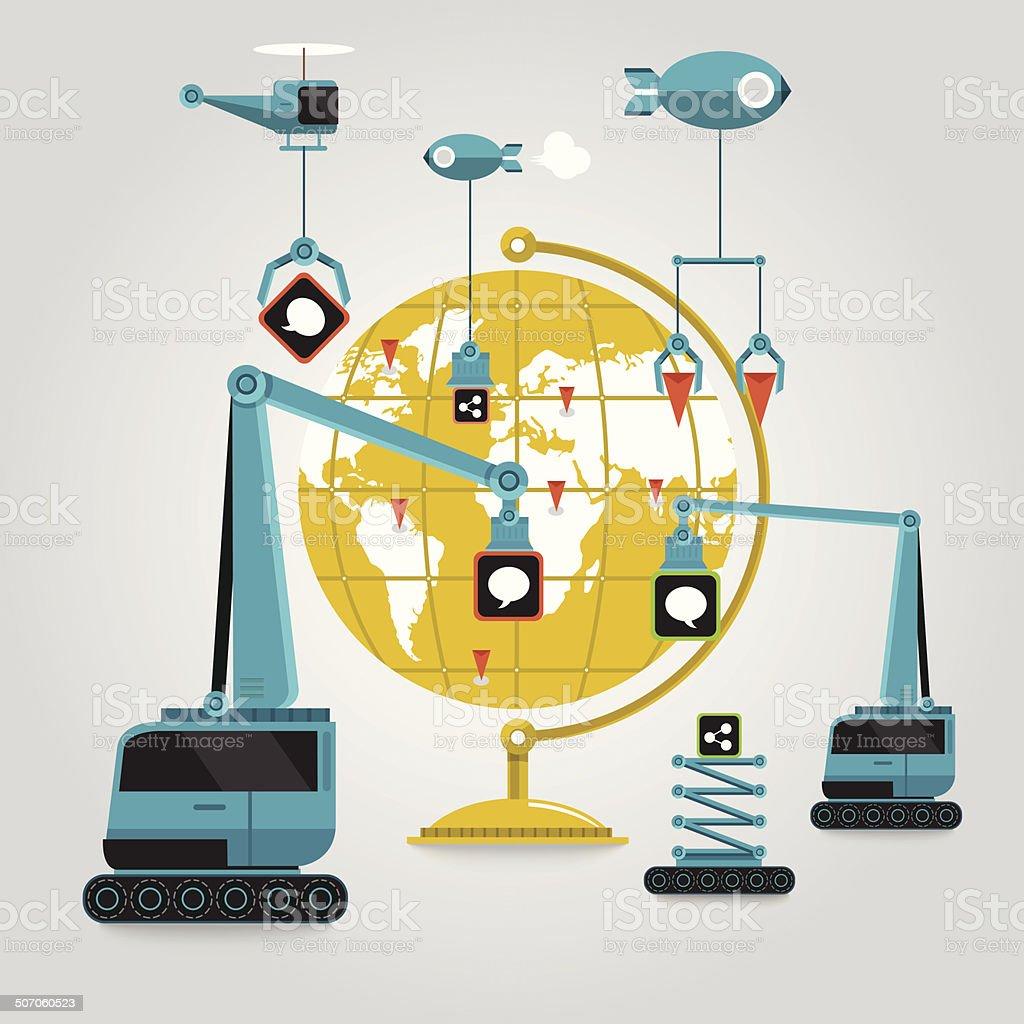 World Media Construction vector art illustration