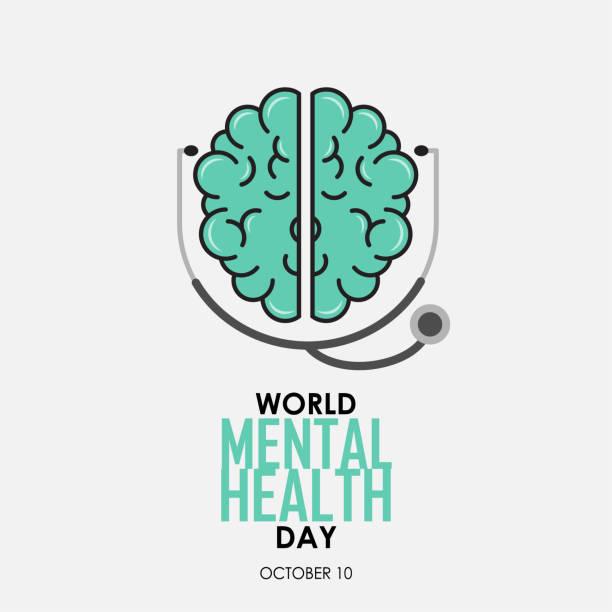 stockillustraties, clipart, cartoons en iconen met wereld geestelijke gezondheid dag achtergrond - psychische aandoening