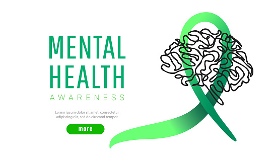 World mental health day concept. Green awareness ribbon with line brain icon or shape on a white background