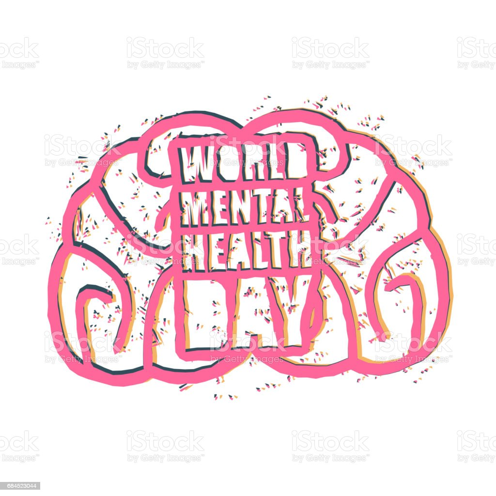 World Mental Health Day Emblem Symbol Of Human Brain Grunge Style