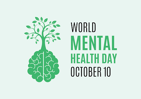 World Mental Health Day Poster with human brain with a tree icon vector