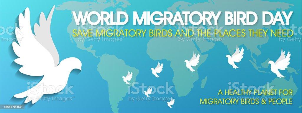 World Migratory Bird Day vector art illustration