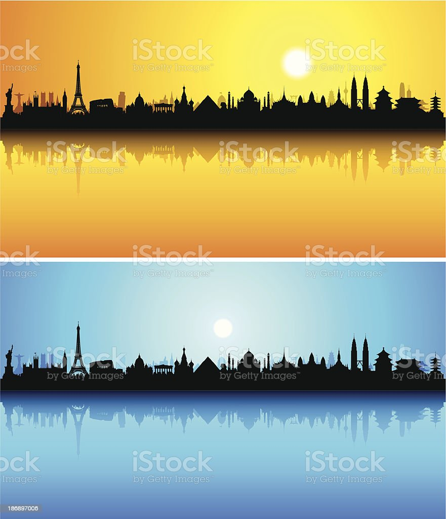 World Monuments (Each Building is Moveable and Complete) royalty-free stock vector art
